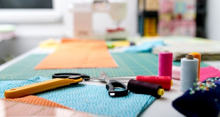 Gather quilting materials