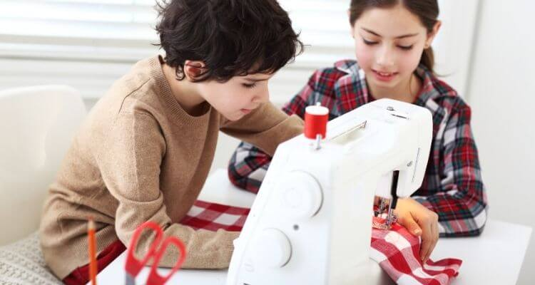 kids sewing by their own