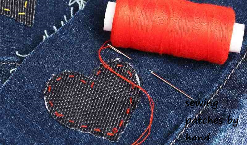 Patch Sewing with needle and thread