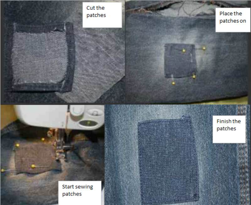 Step by step guide of sewing patches